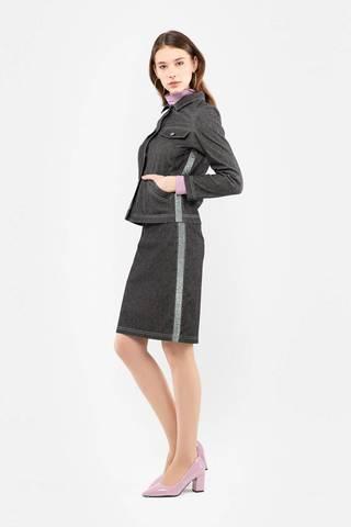Фото оригинальная юбка-карандаш прямого силуэта с лампасами - Юбка Б128-350 (1)