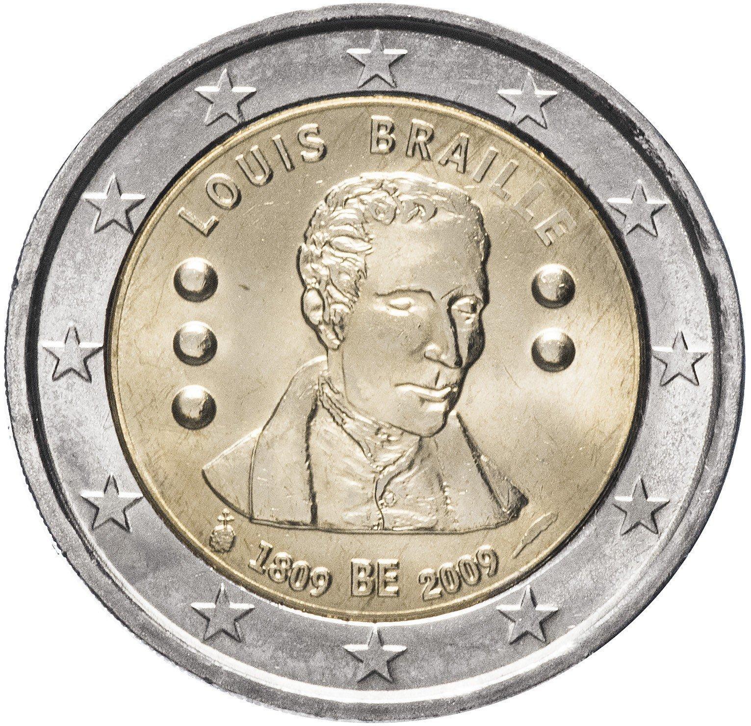 2 евро 200 лет со дня рождения Луи Брайля 2009 год, Бельгия. UNC