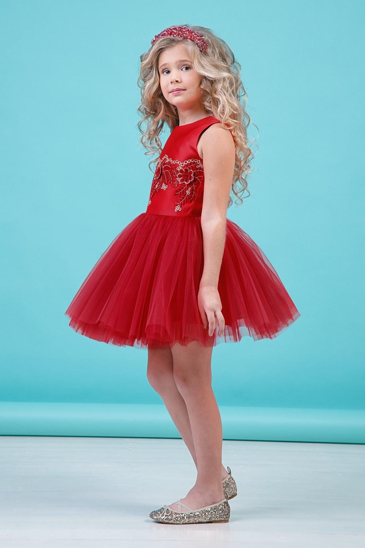 Платье красное для девочки 38-9001-4