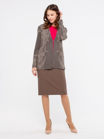 Фото офисная коричневая юбка прямого силуэта на молнии - Юбка Б094-527 (1)