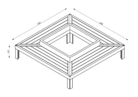 Bench CITY / quadrangular
