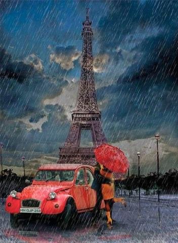 Алмазная Мозаика 50x65 Поцелуй влюбленных на фоне эйфелевой башни
