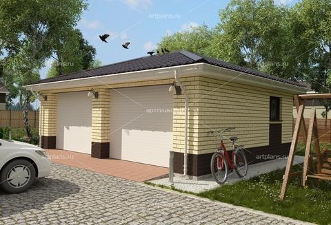 Проект гаража на 2 машины из облицовочного кирпича G101