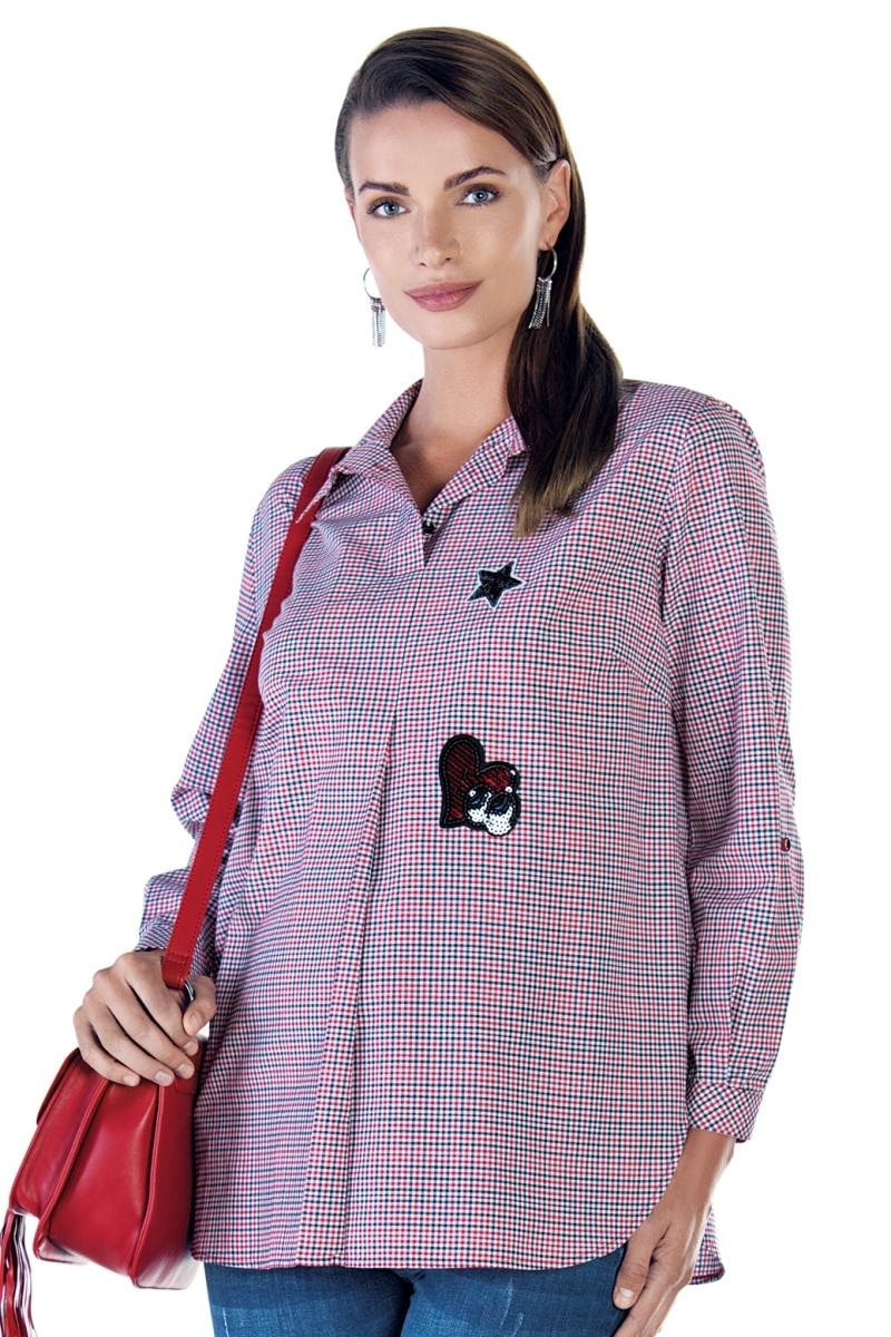 Блузка для беременных 09026 клетка