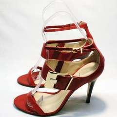 Летние сандали женские на каблуку Via Uno1103-6605 Red.