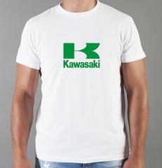 Футболка с принтом Кавасаки (Kawasaki) белая 0012
