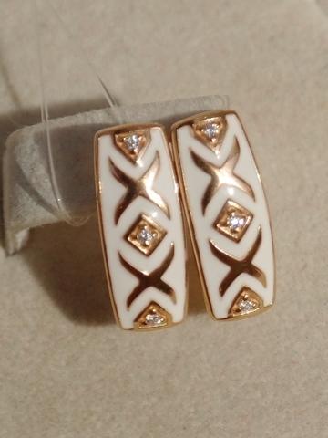 Серьги из золочёного серебра с эмалью