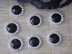 Камни круглые в стразовом обрамлении черные (опт 10шт)