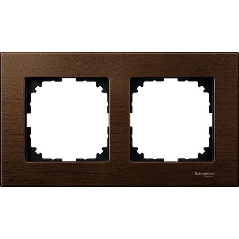 Рамка на 2 поста. Цвет Орех. Merten. M-Elegance System M. MTN4052-3473