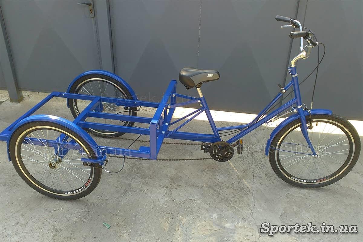 Триколісний вантажний велосипед 'Рекламний' (синій) для вуличної торгівлі та реклами з 24 колесами