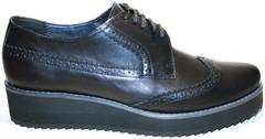 Туфли женские кожаные дерби броги на низкой танкетке, на шнурках Joulie.