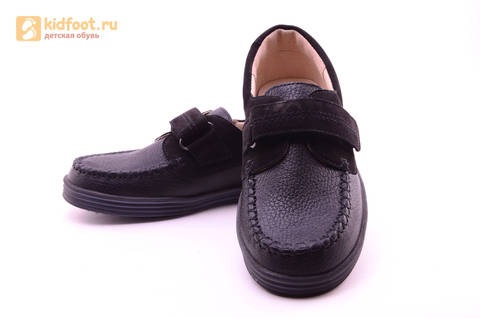 Ботинки для мальчиков из натуральной кожи на липучках Лель (LEL), цвет черный. Изображение 10 из 18.