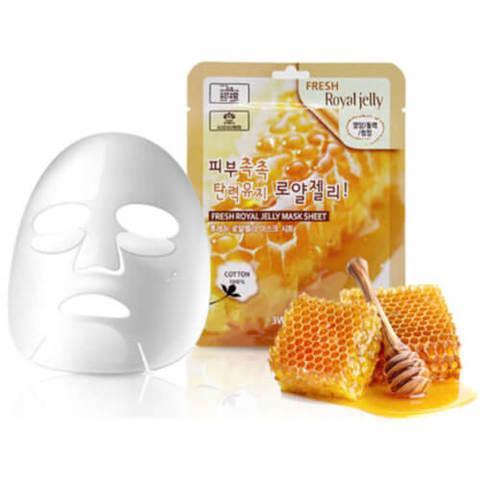 Тканевая маска для лица Маточное молочко 3W CLINIC Fresh Royal Jelly Mask Sheet 23 мл