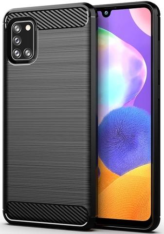 Чехол для Samsung Galaxy A31 черного цвета, серия Carbon, Caseport