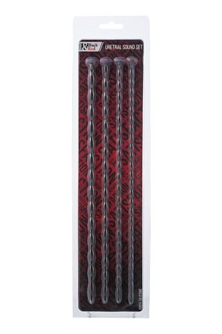 Набор из 4 чёрных уретральных зондов TOYFA Black Red различного диаметра