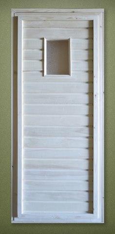 Дверь деревянная банная осиновая с узорчатым стеклом  1700х700 с коробкой 100 мм