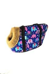 Сумка-переноска для собак с меховой отделкой Слоники