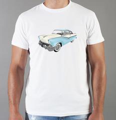 Футболка с принтом Кадиллак (Cadillac) белая 003