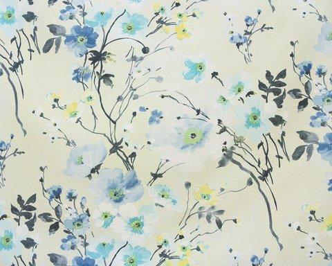 Портьерная хлопковая ткань в английском стиле Грасс голубой