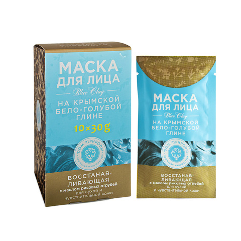МДП Маска ВОССТАНАВЛИВАЮЩАЯ для сухой и чувствительной кожи на основе Крымской бело-голубой глины (саше пакет 30г)