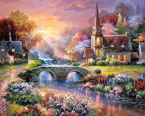 Картина раскраска по номерам 30x40 Два дома с мостом