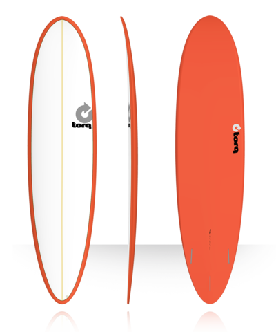 Серфборд TORQ 7'6'' Fun - Color Pinline (white deck/red/pinline)