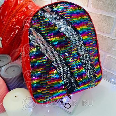 Рюкзак детский красный с пайетками меняющий цвет Радужный-Серебристый Феерия