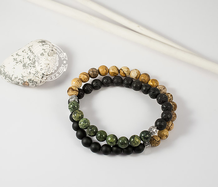 Boroda Design, Двойной мужской браслет из шунгита, яшмы, лавы и змеевика. «Boroda Design» boroda design браслет шамбала ручной работы из бычего глаза