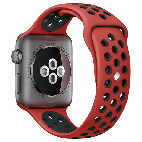 Ремешок Apple watch 42/44mm Sport Nike /red black/ красный черный