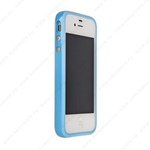 Бампер для Apple iPhone 4s/ 4 Bumper, цветное яблоко на упаковке, голубой