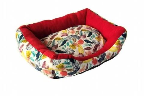 Прямоугольный лежак для животных Листья, 40х32х10 см
