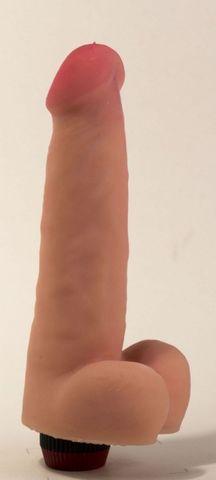 Большой реалистичный виброфаллос с мошонкой - 20,5 см.