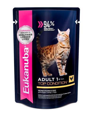 Eukanuba Cat пауч для взрослых кошек (с курицей в соусе) 85 г