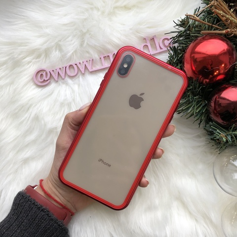 Чехол iPhone XS Max Magnetic crystal glass case 360 /red/