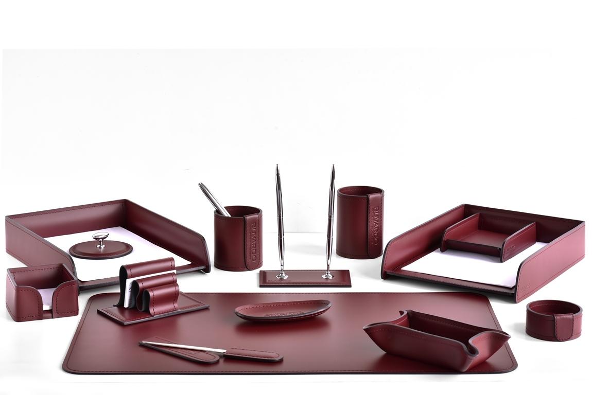 Настольный офисный набор 14 предметов из кожи, цвет бордо