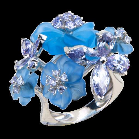 Кольцо с цветами из голубого кварца и кубическим цирконием цвета лаванды