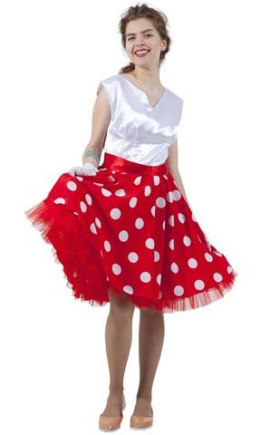 Платье Стиляга бело-красное в горох 1