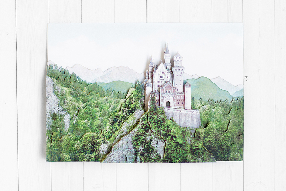 Замок в Баварии - готовая работа, фронтальный вид.