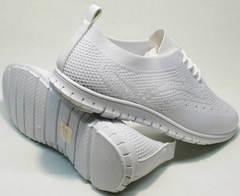 Красивые белые кроссовки на белой подошве женские Small Swan NB-821 All White.
