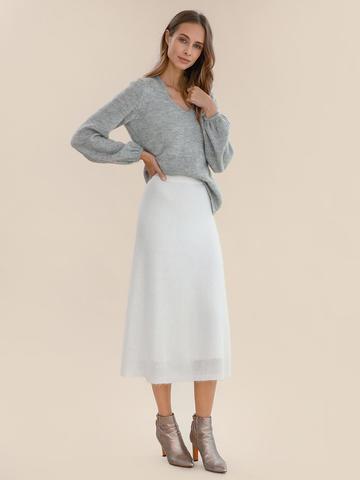 Женская юбка молочного цвета из мохера - фото 4