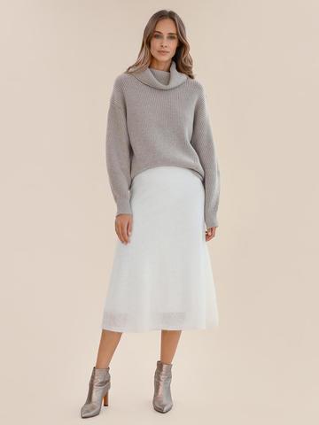Женская юбка молочного цвета из мохера - фото 2