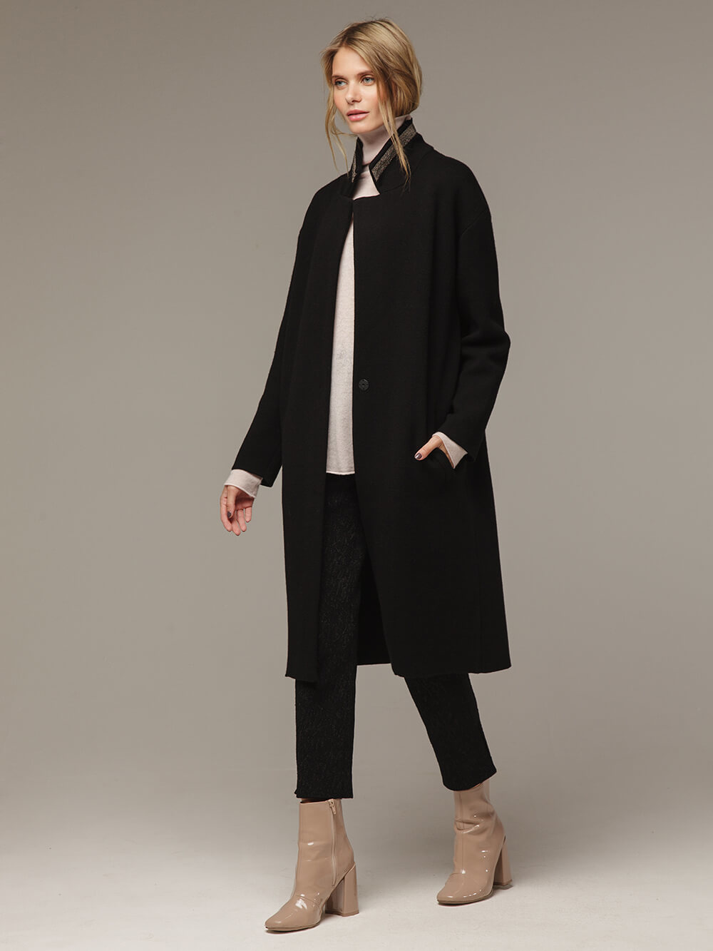 Женское черное пальто шерсть/кашемир - фото 1