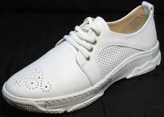 Красивые кроссовки туфли на плоской подошве женские Derem 18-104-04 All White