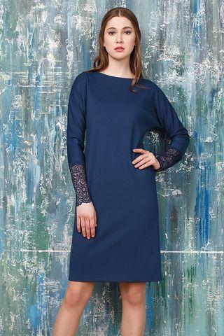 Фото синее платье по фигуре с кружевными манжетами - Платье З306-677 (1)