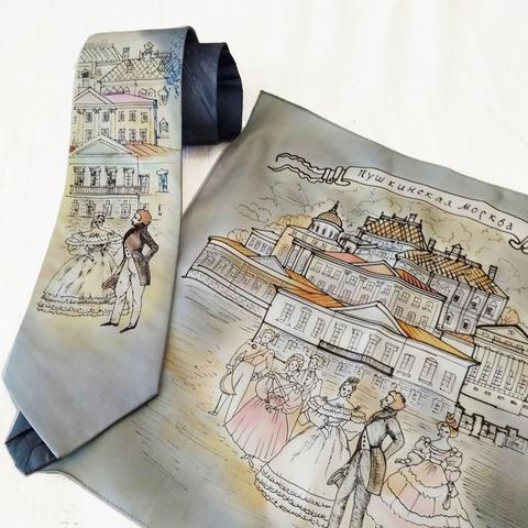 Шелковый платок и галстук батик Пушкин