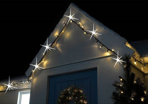 Как выглядит на крыше дома каучуковая гирлянда нить LED string 10 метров с соединением между собой