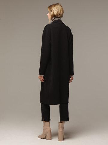 Женское черное пальто шерсть/кашемир - фото 3