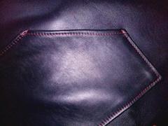 Мужской красно-синий кожаный фартук для настоящего болельщика