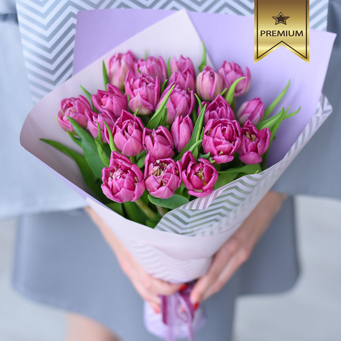 Купить букет пионовидных розовых тюльпанов Пермь