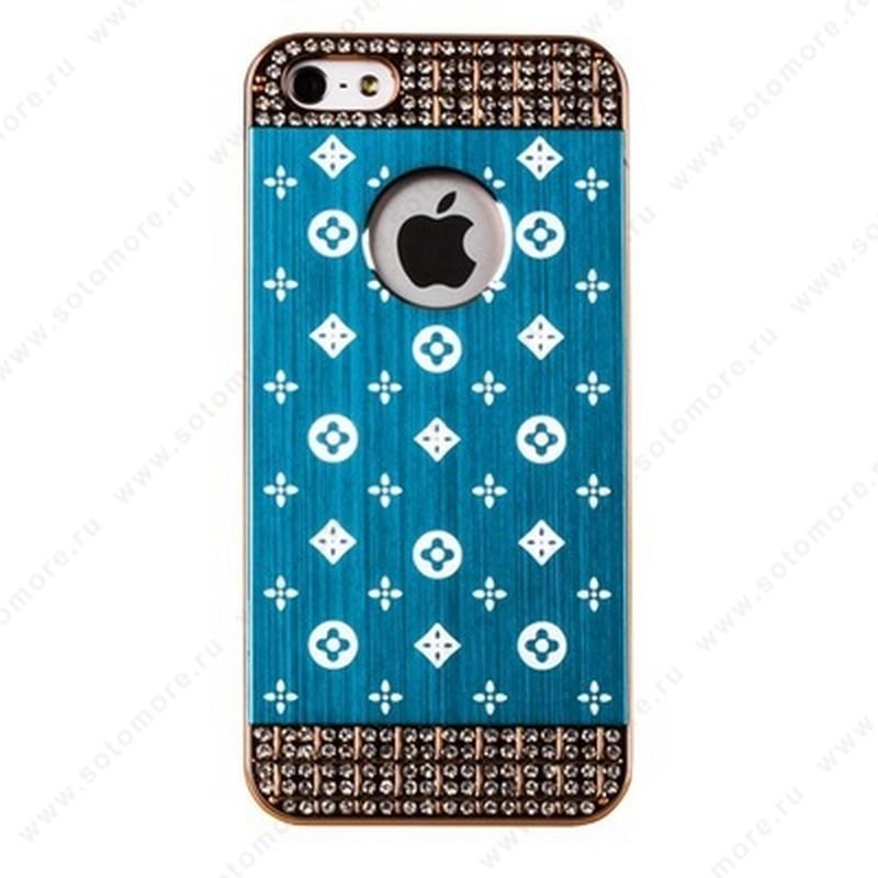 Накладка LV металлическая для iPhone SE/ 5s/ 5C/ 5 золото голубая